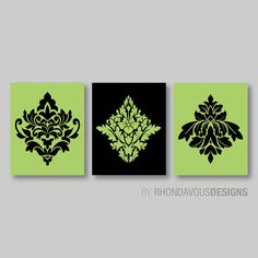Green and Black French Damask Print Trio - Home Ornamental Modern Wall Art…