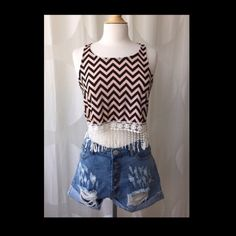 Chevron Racerback Crop Top With Fringe Chevron crop tank top with white lace fringe. Made in the USA. So cute!! ❤️ April Spirit Tops Tank Tops