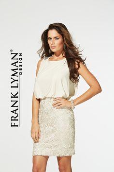 Jersey and lace dress by Frank Lyman Design ~ mirellas.ca
