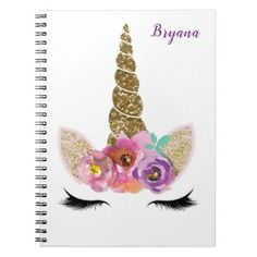 #Gold Glitter Unicorn Horn Girls Glam Personalized Notebook - #gold #glitter #gifts