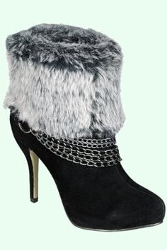 1042a0a44b4 Modesta Fur Ankle Heeled Suede Boot w Chain Detail (7.5) Ankle Heels