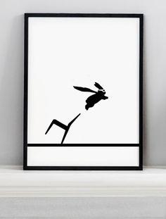 Superhero Rabbit Screen Print - HAM #elds #coolprints #eastlondondesignstore www.eastlondondesignstore.com