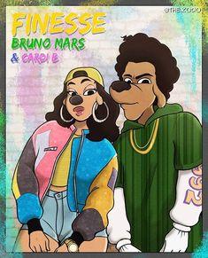 Bruno and Cardi! Black Cartoon Characters, Black Girl Cartoon, Dope Cartoon Art, Cartoon Drawings, Black Love Art, Black Girl Art, Art Girl, Black Disney Princess, African American Artwork