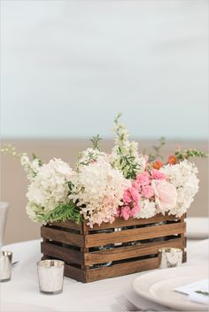 10 Flower Box Centerpieces on @intimatewedding Photo by @weddingchicks #flowerbox #weddingflowers #weddingcentrepiece