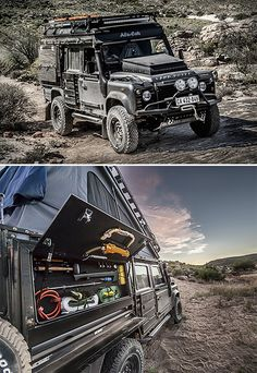 Land Rover Defender Icarus - The Land Rover Defender Icarus is a death-proof custom camper conversion created by South African adventure customizer Alu-Cab. The Icarus features a built-in rooftop tent that opens from the inside, a fold-away stove & lots of side storage, plus ultra-bright Lumeno lights inside & out. | werd.com