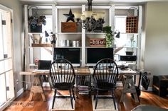 Sawhorse ladder desk / How to marry high tech with an upcycled twist on FunkyJunkInterior...