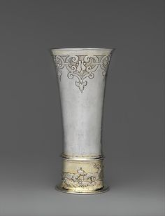 "Possibly by Thomas Trepches II (master in 1632, died 1676). Footed beaker, mid-17th century. Hungarian. The Metropolitan Museum of Art, New York. Gift of The Salgo Trust for Education, New York, in memory of Nicolas M. Salgo, 2010 (2010.110.29) | This work is featured in our ""Hungarian Treasure: Silver from the Nicolas M. Salgo Collection"" exhibition. #HungarianTreasure #dogs"