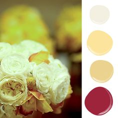 Bouquet-Inspired Paint Palettes — Just in Time For Spring!: Pulling the yellow hues of this floral arrangement inspired a soft palette with colors like lovely light lemon,  Tuscon gold, and colonial cream. A pop of wishful wisteria  red would be perfect for a front door.   Shades from Mythic Paint ($6 per sample).  Source: Flickr user Blue Bouquet