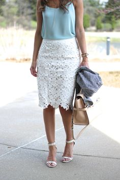 Lilly Style: White skirt with a powder blue blouse