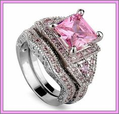 Gorgeous Silver Pink Sapphire Crystal  Ring Set-Size 7. Starting at $5