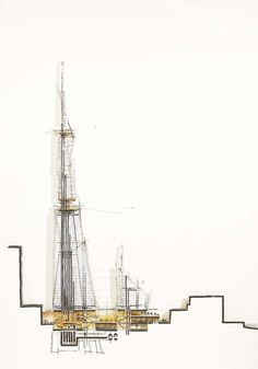 define-space: the shard by italian architect renzo piano. sketches of london's 310m glass sky scraper by renzo piano building workshop and michel denance.