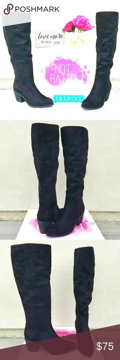 """Stylish Not Rated Boots This stylish Not Rated boot features scrunched faux suede on a 19"""" shaft that ends just above the knee perfectly topped with lazer cut scallops and details. Easy to wear all day with a 2.75"""" heel and easy access zipper. Too adorable you pass up. New with box. Not Rated Shoes Heeled Boots"""