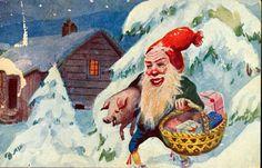 Julekort MOE, OTTO. Nisse har forsynt seg med grisunge og kurv med mat. Utg Mittet & Co postgått 1924