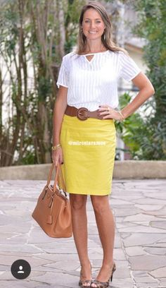 Cute fashion outfits ideas – Fashion, Home decorating Cute Fashion, Fashion Models, Spring Fashion, Fashion Outfits, Womens Fashion, Yellow Skirt Outfits, Corporate Attire, Office Looks, Work Attire