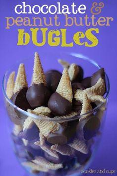 Chocolate and Peanut Butter Bugles #dessertfoodrecipes