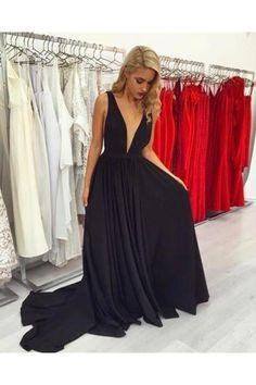 Sexy Plunge Neckline Long Black Evening Dresses Prom Dresses N10210