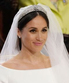 a366c44a0 Meghan Markle Wore Queen Mary Bandeau Tiara And Veil Queen Mary, Queen  Mother, Queen