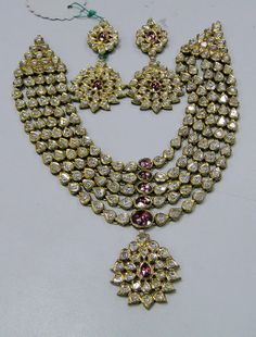 Classic Vintage elegant 20 carat solid gold, Old cut Diamonds and coloured stones with multicolor Enamel work 5 rows necklace (Kundan Meena choker) with Matching Earrings. vintage 20 ct G old Diamond kundan meena necklace by TRIBALEXPORT, $12750.00