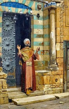 At the Door of theMosque . Painting by artist Ludwig Deutsch (Austrian , 1855 - Goldscheider, Empire Ottoman, Middle Eastern Art, Arabian Art, Islamic Paintings, Old Egypt, Academic Art, Classic Paintings, Ludwig