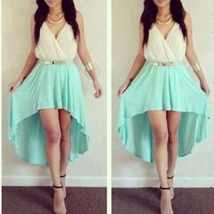 dress mint classy perfect golden dressy formal summer outfits girly fashion high-low dresses glamourous prom dress jewels blue white gold belt goddess beautiful gold jewelry teal blue and white turquoise dress blue dress formal dress Winter Formal Dresses, Formal Dresses For Teens, Casual Dresses, Summer Dresses, Dress Formal, Dress Winter, Summer Outfits, Teen Dresses, Casual Clothes