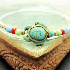 Turquoise Turtle Sterling Silver Bangles Bracelets,  Stackable Bangles, LoVE Friendship Bridesmaid, Mothers Gift,Weddings, Graduations by 4Everinstyle on Opensky #homespunsociety