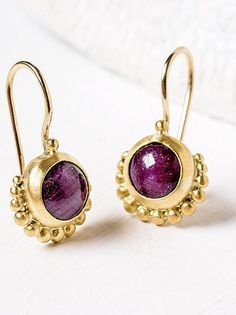 Gold Ruby Earrings Gold Dangle Earrings Ruby by GefenJewelry