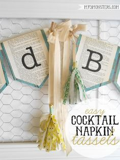 DIY Cocktail Napkin Tassels{& Our Family Motto}, DIY and Crafts, DIY tissue paper tassels from cocktail napkins. Tissue Paper Tassel, Paper Bunting, Nifty Crafts, Diy And Crafts, Diy Tassel, Tassels, Family Motto, Family Life, Elegant Centerpieces