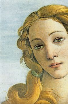 "Detalle de Venus en ""El nacimiento de Venus"", Sandro Botticelli.  Galleria degli Uffizi, Florencia."