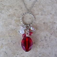 red crystal bead necklace
