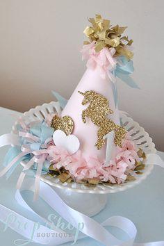 Sombrero de cumpleaños unicornio besos