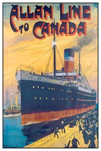 Allan Line to Canada (c.1905) Vintage Travel Poster Reprint - Steamship Ocean Liner Montreal - available at www.sportsposterwarehouse.com