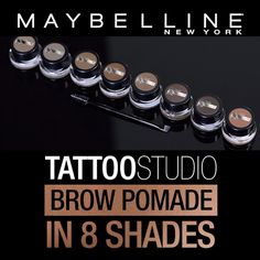 Waterproof, smudge-proof and lasts for up to 24 hours! Effortlessly, sculpt and define brows using the Maybelline Tattoo Studio Brow Pomade. Tap to shop now on Acne Makeup, Eye Makeup Tips, Eyebrow Makeup, Beauty Makeup, Makeup Stuff, Makeup Tricks, Makeup Ideas, Hair Beauty, Tattoo Studio