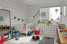 Wallpaper at Just Kids Wallpaper Cool Kids Rooms, Kids Wallpaper, Room Wallpaper, Baby Boy Rooms, Baby Room, Kid Spaces, Home Decor Trends, Kids Furniture, House Colors