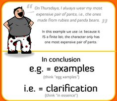 "The Oatmeal: grammar tutorials that stick, e.g., this one on when to use ""i.e."" and when to use ""e.g."""
