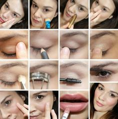Many women do not want to wear heavy makeup. Instead, they prefer natural makeup that reveals their natural beauty. The natural looking make-up is not only limited in the amount, but also depends on t White Eye Makeup, Beautiful Eye Makeup, Glam Makeup, Face Makeup, Pink Matte Lipstick, Brown Lipstick, Natural Everyday Makeup, Natural Makeup Looks, Full Makeup Tutorial