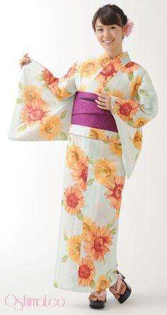 Yuko Oshima in Sunflower Yukata ... because she is warmer than the sun, and prettier than a flower : )  | 浴衣屋さん.com | OshimaUco 浴衣 向日葵