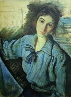 Художник - Зинаида Евгеньевна Серебрякова, картина «Автопортрет за работой» 1921