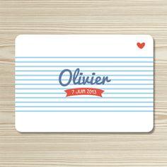 Tannilou - Faire-part naissance OLIVIER | Modèle personnalisable gratuitement (texte et couleur)