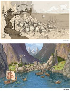 "Concept arts of the viking village of  ""How to train your dragon"""