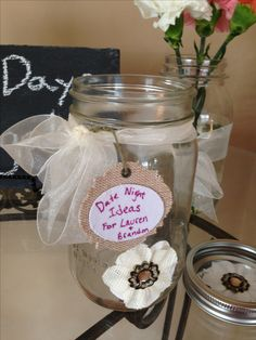 @ katie rad   Let's do this at the bachelorette- or the wedding!  Bridal Shower Game- Date Night Idea Jar