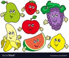 Cartoon fruits collection 2 vector image on VectorStock Healthy Meals For Kids, Healthy Recipes, Healthy Food, Fruit Cartoon, Bible Crafts For Kids, Diy Magnets, Bullet Journal Art, Best Fruits, Arts And Entertainment