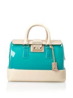 Furla Women's Candy Vanilla Medium Satchel, Menta/Acero at MYHABIT