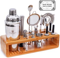 Gifts for Husband Mixology Cocktail Shaker Set by Royal Reserve - Bartender Set with a Bamboo Stand - Bar Accessories Kit including a Martini Shaker & Mixer Recipe Book – Men Birthday Bartender Set, Tequila Mixed Drinks, Coffee Snobs, Coffee Bar Signs, Bar Set Up, Men Birthday, Birthday Ideas, Bar Accessories, Cocktail Shaker