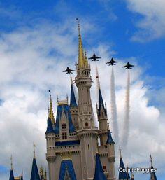 Thunderbirds flying over Disney World