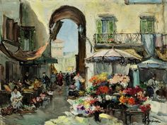 A flower market in Nice, Georges Lapchine. Flower Market, Feeling Special, Impressionist, Painting & Drawing, Past, Nice, Drawings, Cities, Flowers