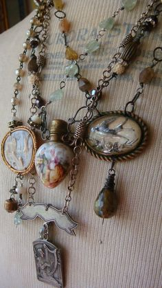 Jewelry by Lisa Bommarito, made of vintage & antique brooches, miniature bottles, Edwardian belt buc Leather Jewelry, Boho Jewelry, Jewelry Crafts, Jewelry Art, Beaded Jewelry, Jewelry Design, Jewelry Rings, Turquoise Jewellery, Fashion Jewelry