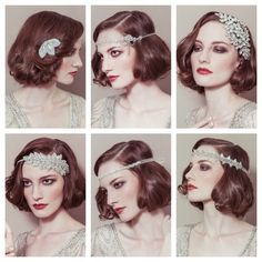 Idea for Bridal shorter hairstyle using hair accessories gatsby style x