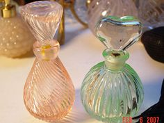 Vintage Glass Perfume Bottles with Glass Daubers
