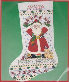 Peppermint Santa Crewel Christmas Stocking Kit Engelbreit Dimensions 8073 NEW