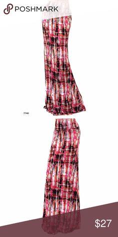 "Pink Black White Full Length Maxi Yoga Skirt Pink Black White Full Length Maxi Yoga Skirt  Made of 95% Rayon 5% Spandex Measurements  Small -- Waist 12"", Hips 16"", Length 42"" Medium -- Waist 13"", Hips 17"", Length 42.5"" Large -- Waist 14"", Hips 18"", Length 43"" XL -- Waist 15"", Hips 19"", Length 43.5"" Got Style Skirts Maxi"